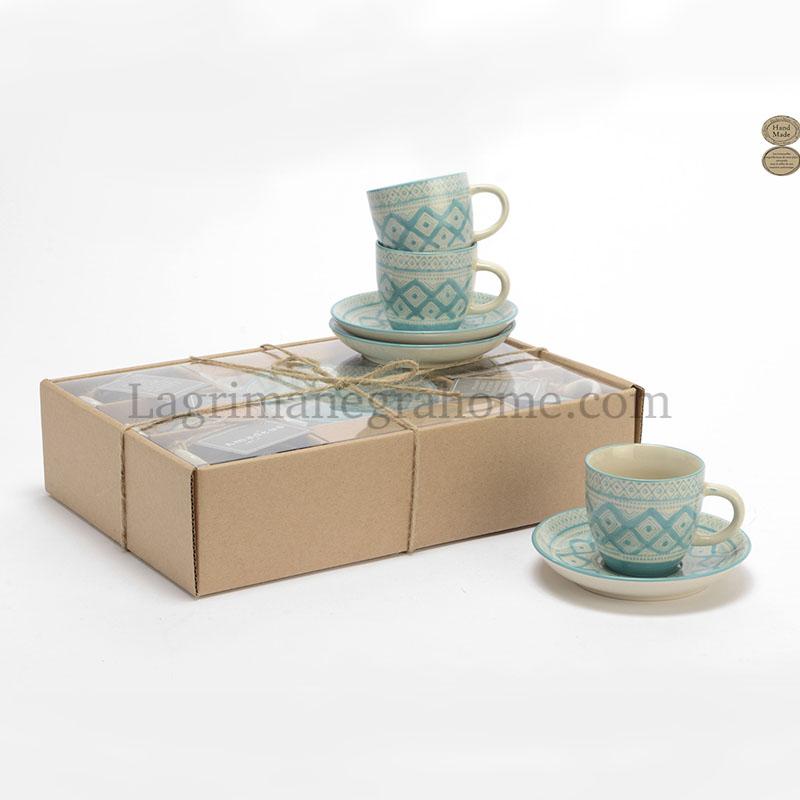 Juego de café azul turquesa