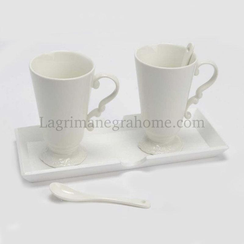 conjunto tazas blancas romanitcas