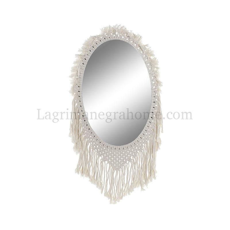 Espejo Macramé ovalado 100 % algodón