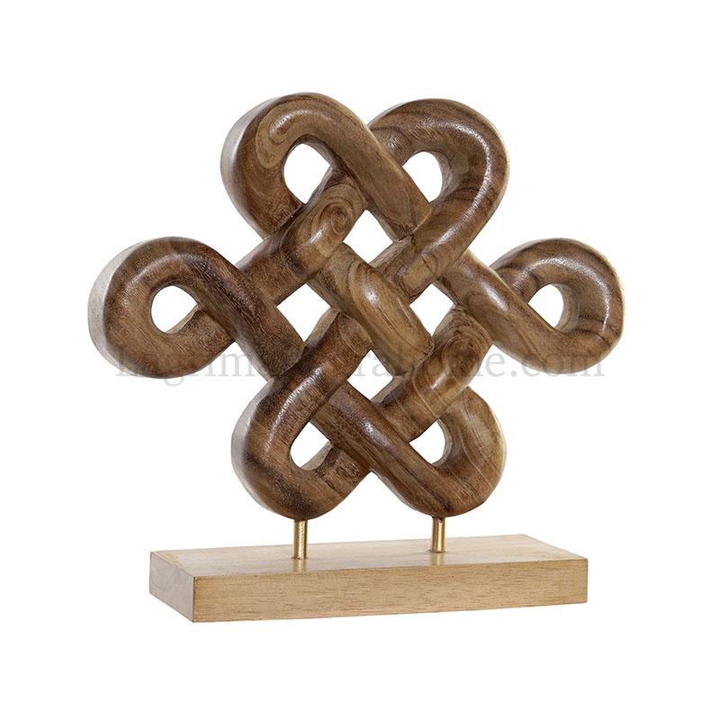 "Figura de madera tallada ""Pan Chang"" nudo de la suerte"